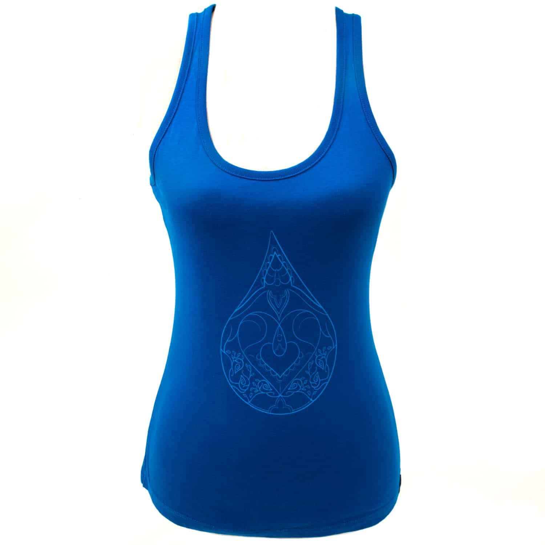 Yoga tanktop Eco Vegan - Drop of love - blauw